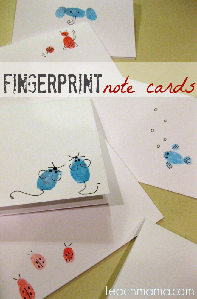DIY Gifts Ideas : teacher appreciation–finger print note cards ...