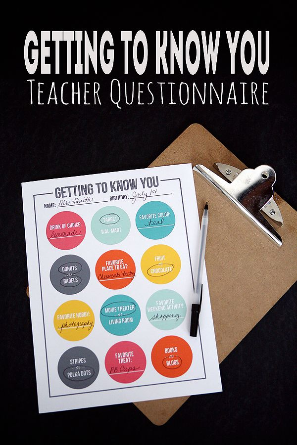 Teacher Questionnaire - get to know your teacher. Makes for easy gift giving thr...
