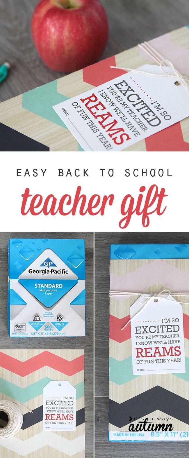 teachers always need paper! cute, easy, inexpensive back to school teacher gift ...