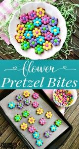 Need an easy Easter dessert or spring snack idea? These flower pretzel bites are...