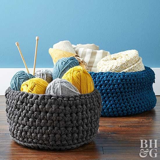 Stow crafts supplies, blankets, or reading materials in this slouchy macrame bas...