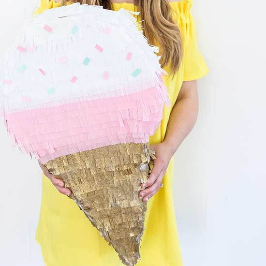 This Ice Cream Cone Piñata is incredibly easy to make.