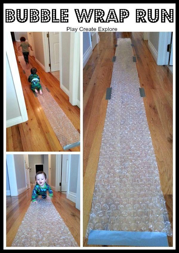 Bubble Wrap Run: Simple Indoor Fun! This looks like fun for adults too! :)
