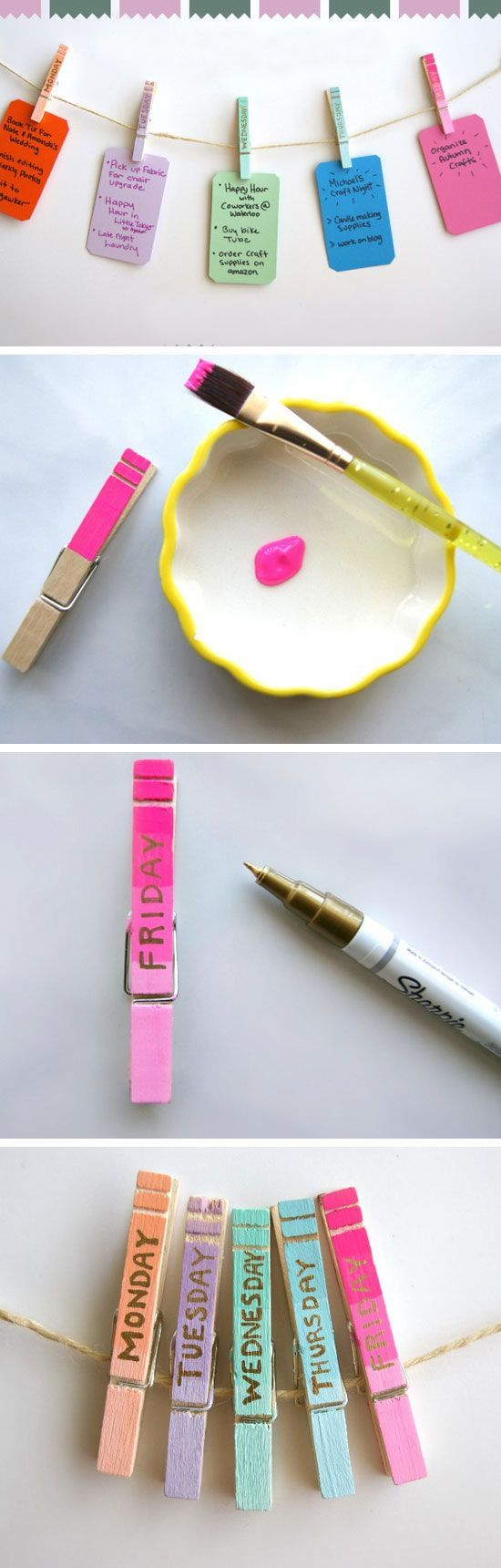 Clothespin Daily Organizers | 23 Life Hacks Every Girl Should Know | Easy Organi...