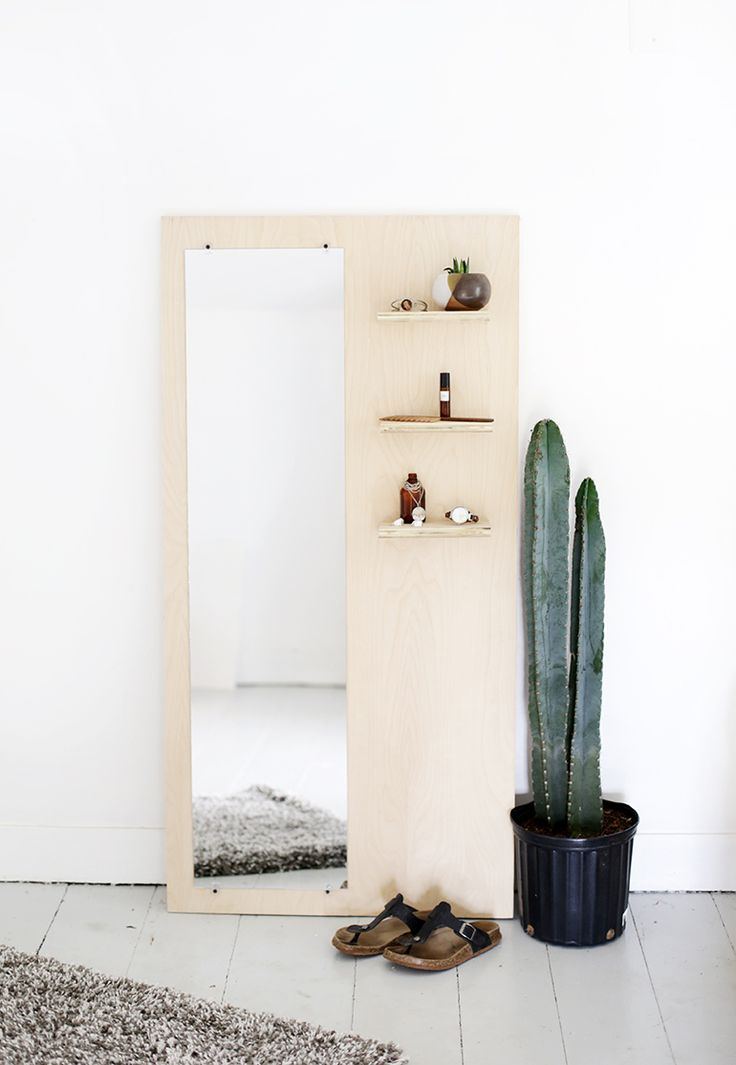DIY Plywood Floor Mirror With Shelves The Merrythought