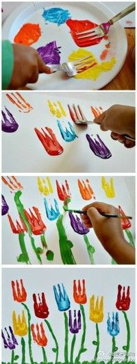 Easter Tulip Painting - Great for special needs or kids that don't like the ...