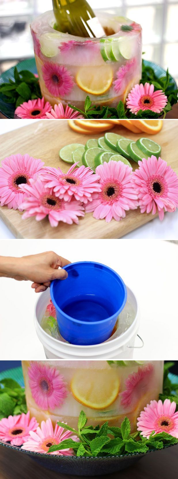 How cool is this! A floral ice bucket or centerpiece with fresh flowers and frui...