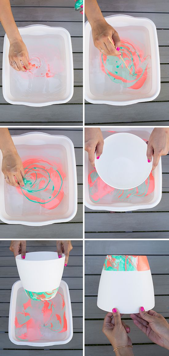 i would marble the entire thing! //Marbled Hanging Planter DIY