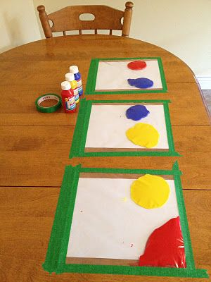 Paint in ziploc bags, taped to table. Great distraction, no mess! LOVE THIS ONE!...
