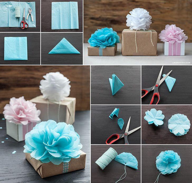 How to Make Tissue Paper Mini Pom Poms - DIY & Crafts - Handimania www.handimani...