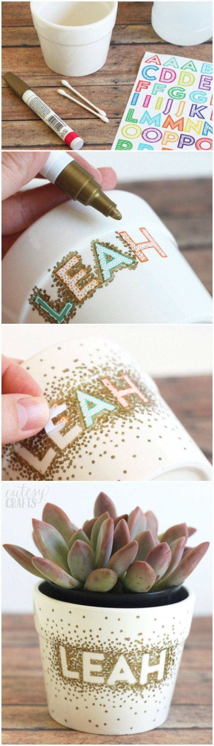 Use a Sharpie to make dots in this unique flower pot craft! It's so easy tha...