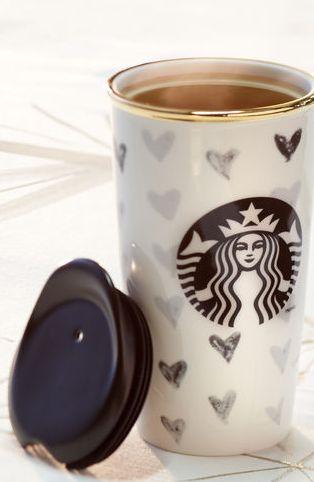 Black heart Starbucks mug