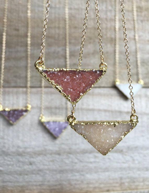 Druzy Necklace, Druzy Triangle Necklace, Gemstone Necklace, Druzy Jewelry, Drusy...