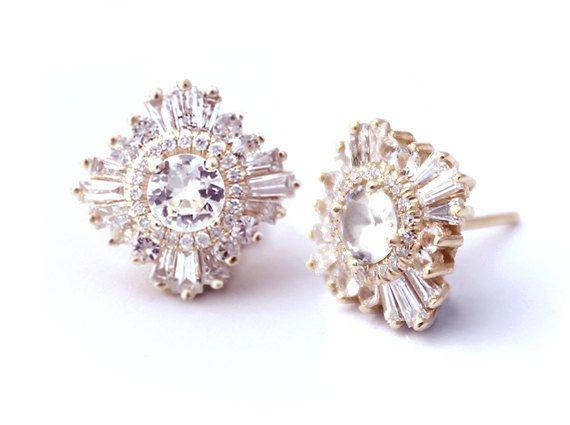 Gatsby Petite Earrings - Diamonds, Moissanite or White Sapphires - Bridal, Art...