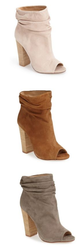 Slouch booties: i'll take a pair in each color, please! So feminine and pretty. ...