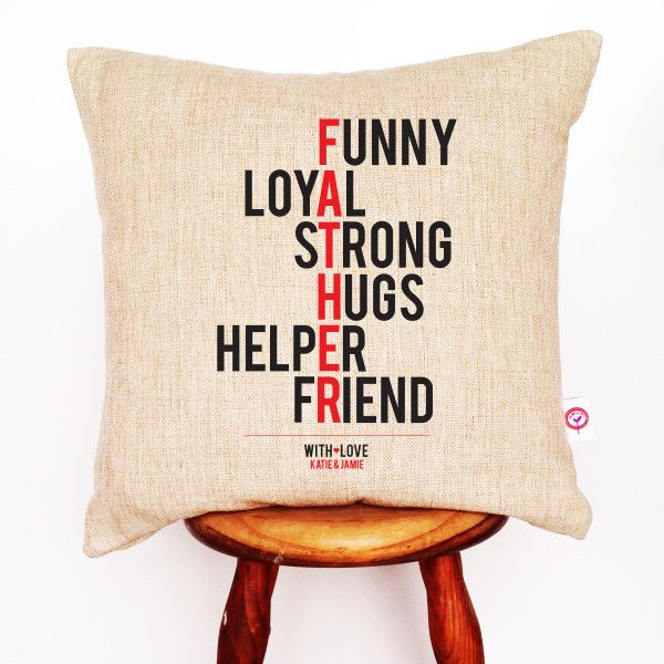 Gifts For Him Ideas : Father personalised linen cushion cover ...