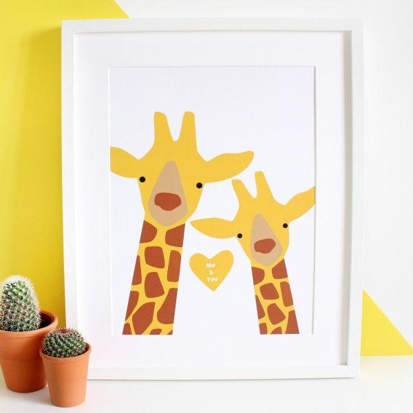 Giraffe Couple Selfie Personalised A3 Print