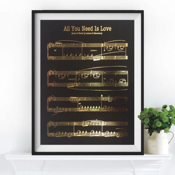 Gold leaf Beatles Sheet Music Print