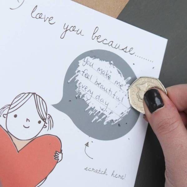 I love you because… secret message card