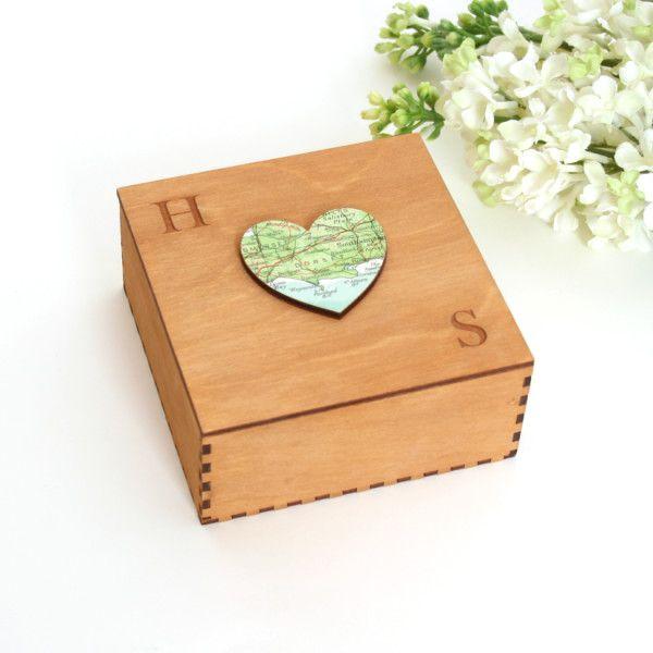 Map heart box - you choose the loaction