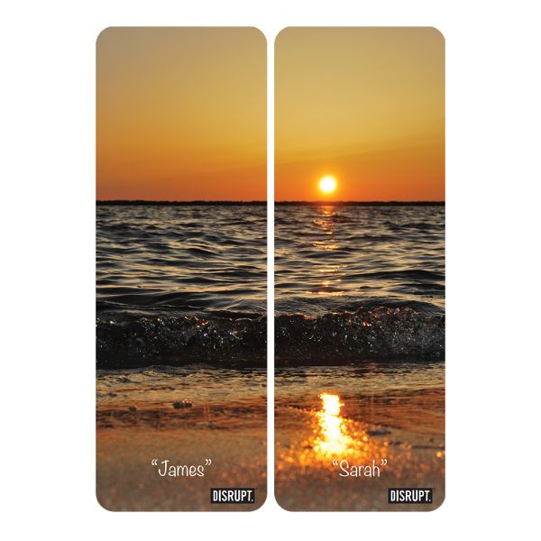 Personalised couple's yoga mats in sunset design