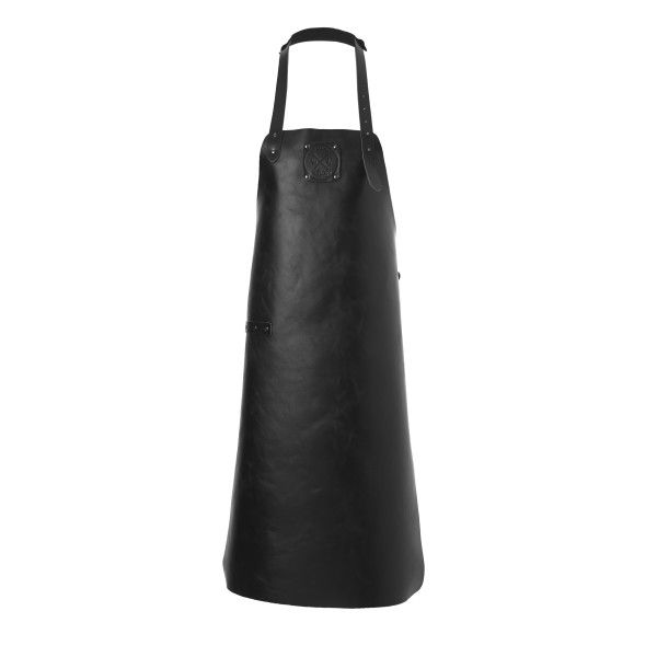 Personalised Handmade Dutch Leather Apron in Pure Black