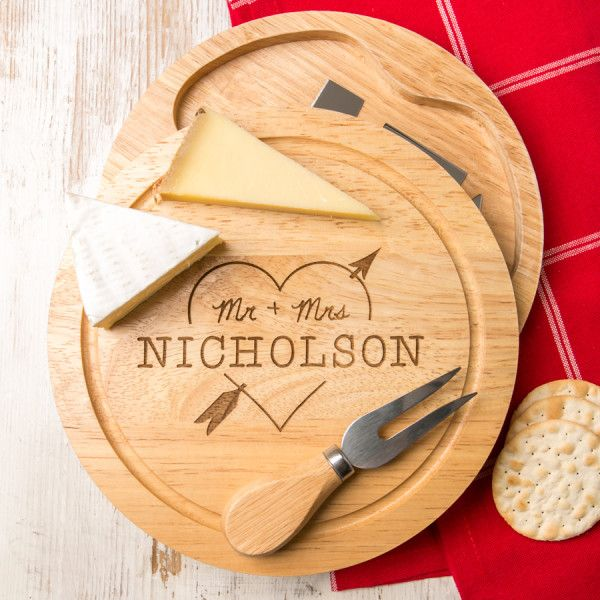 Personalised Heart And Arrow Wedding Cheese Board Set