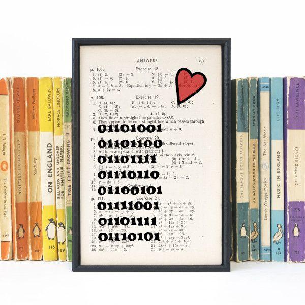 Romantic Geek Gift binary code - book page print