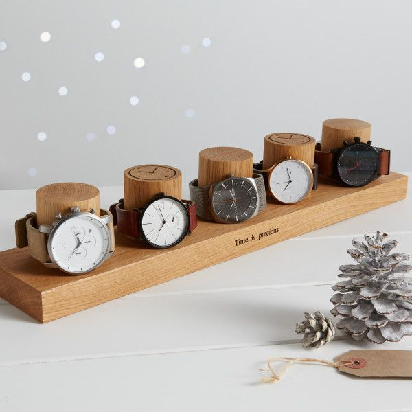 Solid Oak Watch Stand For Five Watches