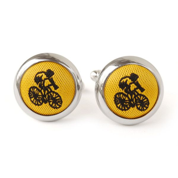 Yellow cyclist cufflinks