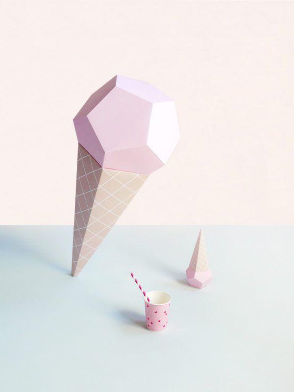 Giant Ice Cream Paper Sculpture Kit – Strawberry | Moon Picnic x Mr P