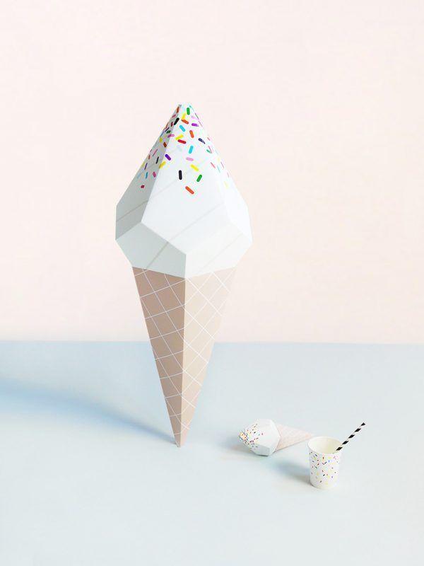 Giant Ice Cream Paper Sculpture Kit – Vanilla Soft Serve | Moon Picnic x Mr P