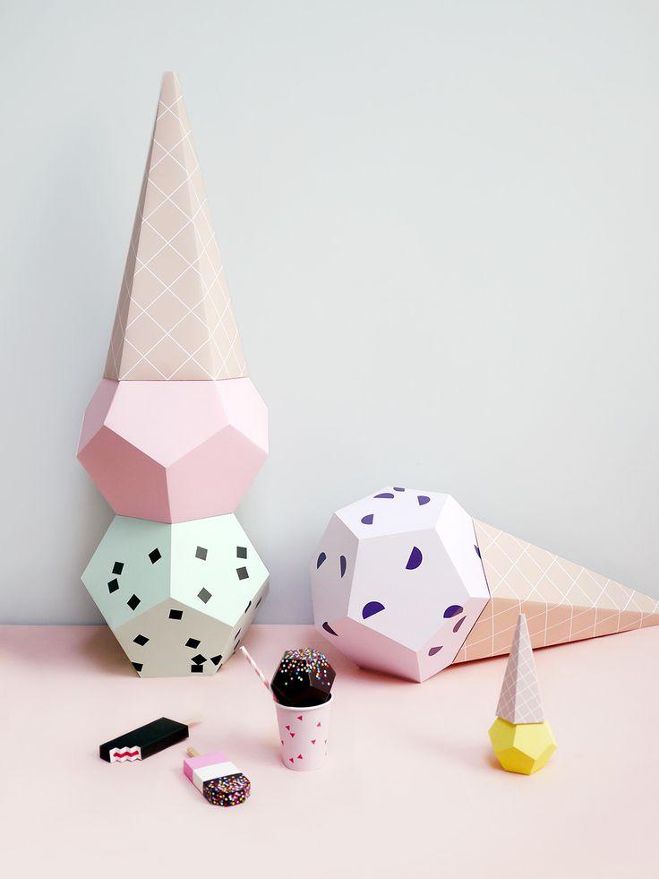 Giant Paper Ice Creams DIY kit   Moon Picnic