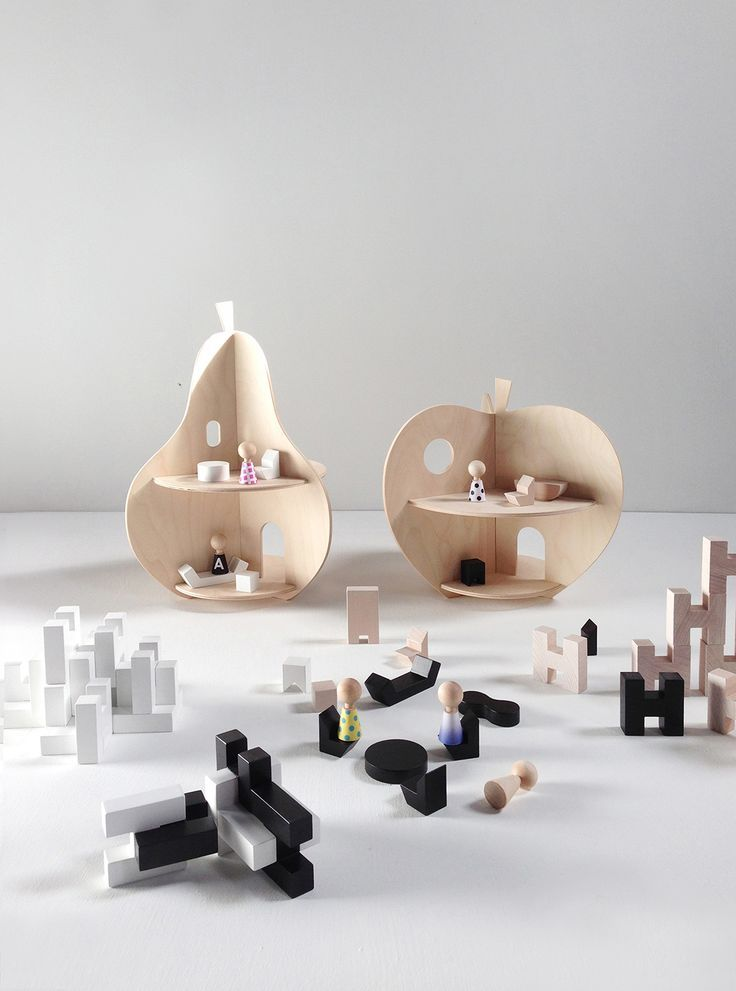 Rock & Pebble wooden toys - Apple and pear dollhouses + mini furniture and H Blo...