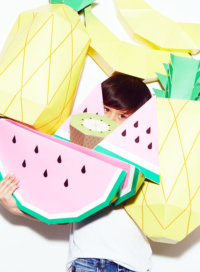 Zara Kids Denim Lookbook / featuring MR P giant tropical paper fruit from mrpsho...