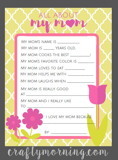 Mom Birthday Gifts All About S Day Printables For Kids Crafty Morning