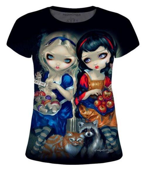 Jasmine Becket-Griffith's Snow White & Alice in Wonderland t-shirt.