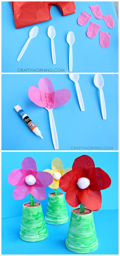Make some spoon flowers for a Mother's Day gift! It's a cute and easy kids craft...