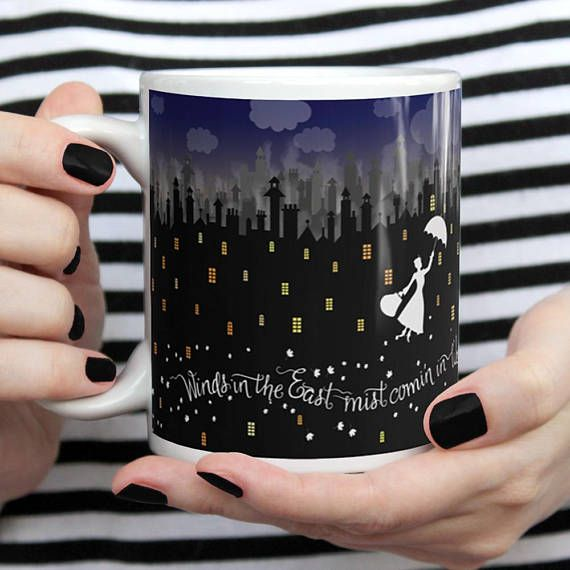Mary Poppins Winds in the East quote on a coffee mug from Etsy.