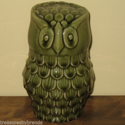 Mid Century Modern green ceramic owl figure. He'll watch over you and your c...
