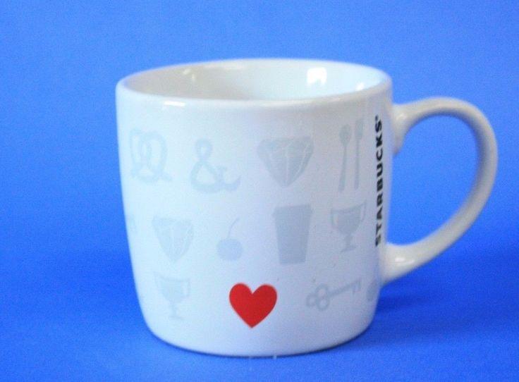 Mom Birthday Gifts Starbucks Small Valentine Heart Love Coffee Mug 7 8oz New White With Grey Ic