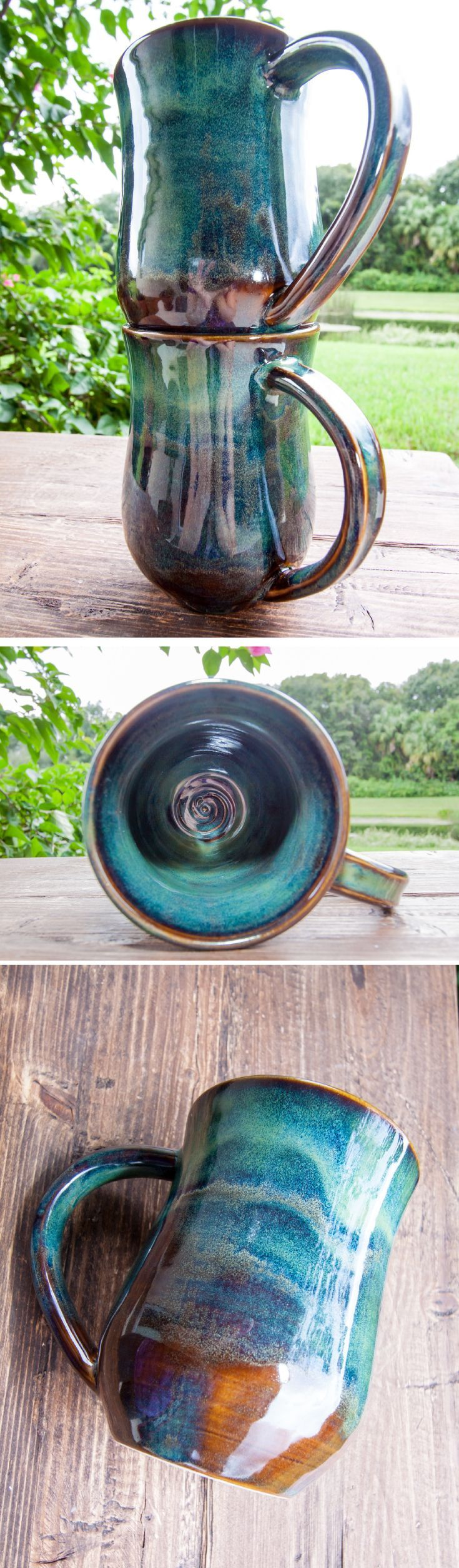 The Forest Green collection  This handmade stoneware mug is perfect for everyday...