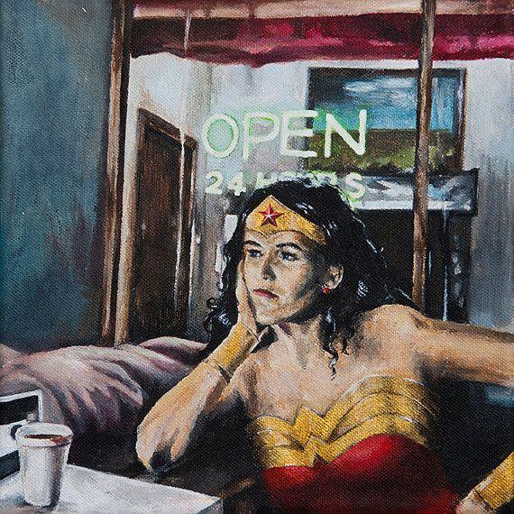 Wonder Woman Needs Coffee, too.  Art print from Etsy.