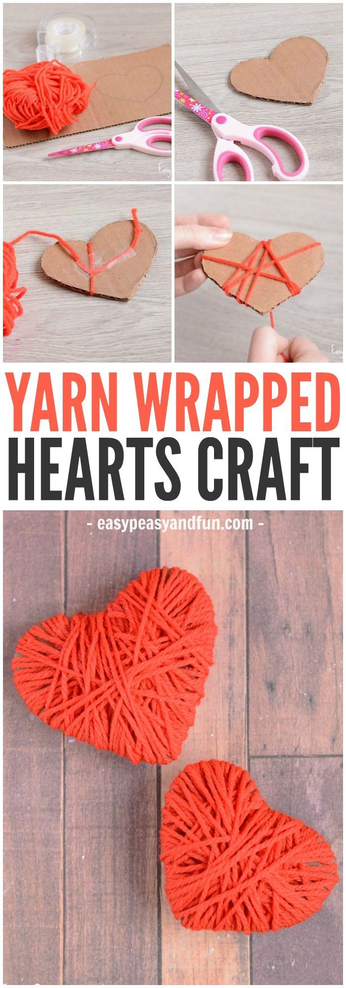 A cute and colorful easy yarn heart craft! A perfect fine motor skill for you pr...