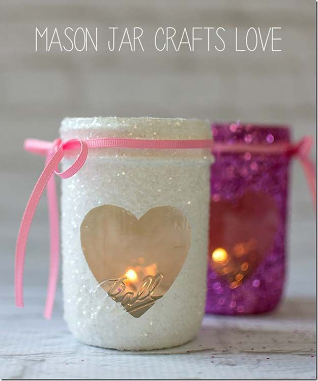 Best Mason Jar Valentine Crafts - Valentine Glitter Votives - Cute Mason Jar Val...