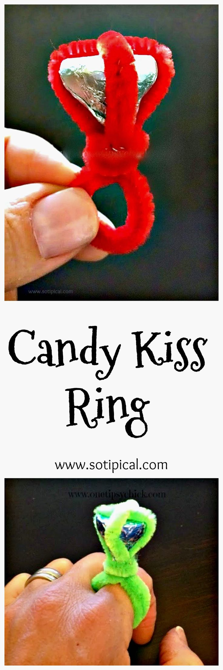 Candy Kiss Ring Tutorial for Valentine's Day! - So TIPical Me (Valentins Day...