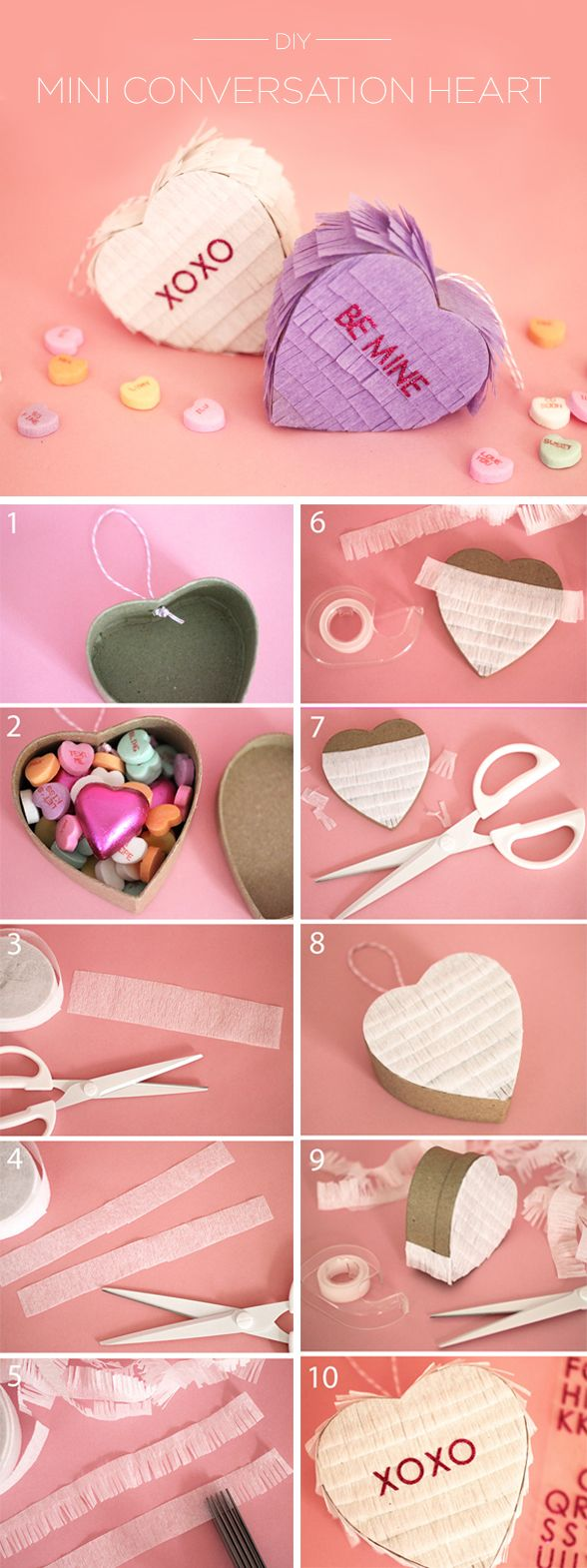 Charm your loved ones with these cute little conversation heart pinatas. #evitex...