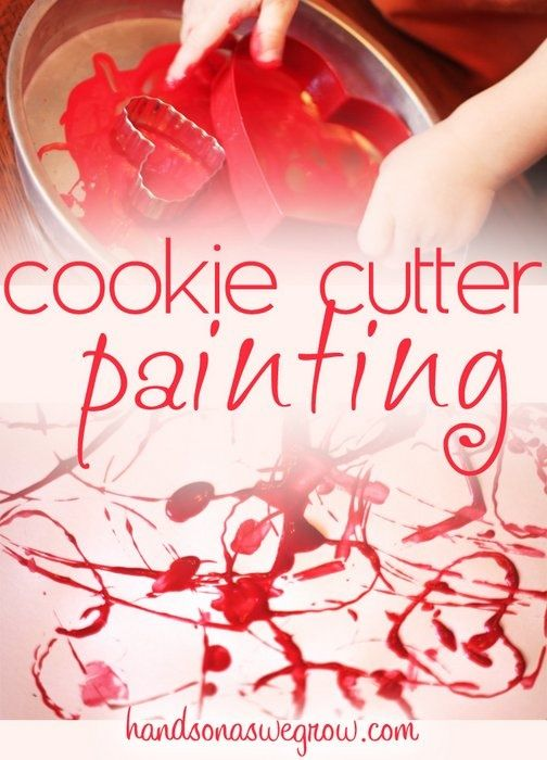 Cookie cutter painting is easy for toddlers - make it heart shaped for a Valenti...