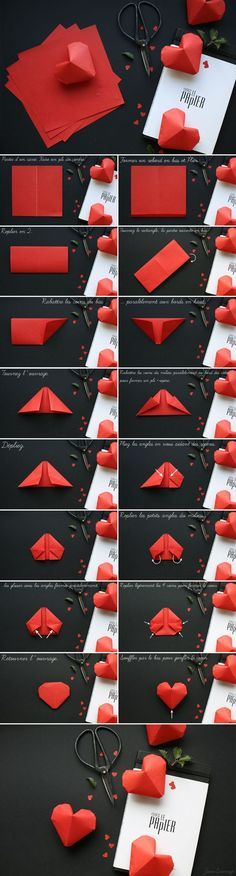 DIY paper hearts- they all contain a message inside them. Make 365 so there is a...