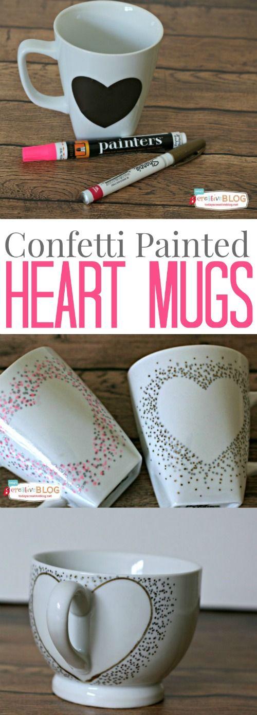 love the confetti heart! Confetti Painted Heart Mugs   TodaysCreativeblo...   Va...
